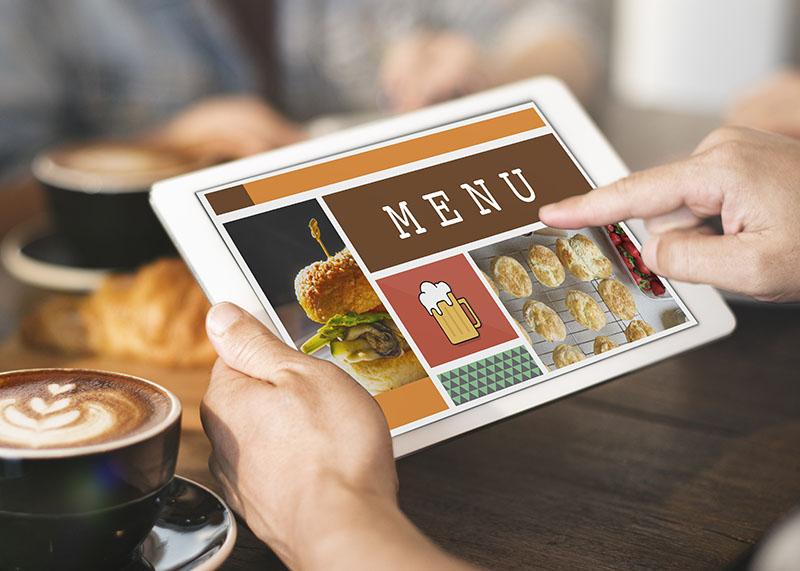 Menu digital pour restaurant sur tablette tactile